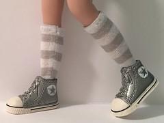 Gray And White Striped Short Socks...For Blythe...