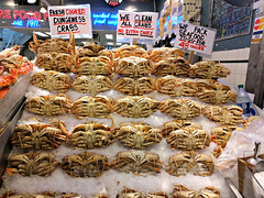 Dungeness crabs at Pike Place Market (Ruth and Dave) Tags: pikeplacemarket pikeplace seattle foodstall market marketstall display crabs cooked food dungenesscrabs