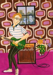 Soundcheck (Hilo Tomula) Tags: hilo tomula hiro tomura トムラ ヒロ sound soundcheck play guitar electric amp marshall gretsch illustration illustrator design graphic art work painting hand drawing painter brush acrylic water color pop humor vintage retro 70s 60s pattern wall paper converse girl volume comical mid century rock music musician poster printing silk screen card