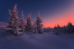 The Tangerine Sky... (Bonnie And Clyde Creative Images) Tags: landscape canon mountains winter awakening trees travel poland snow frost