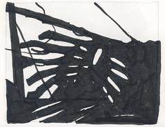 2016.03.12 Fenced In (Julia L. Kay) Tags: shadow shadows silhouette juliakay julialkay julia kay artist artista artiste künstler art kunst peinture dessin arte woman female sanfrancisco san francisco daily everyday 365 botanical botany plant foliage splitleaf philodendron splitleafphilodendron sundances ink paper brush pen brushpen bw black white monochrome