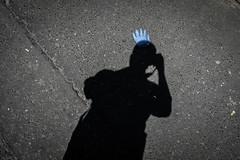 punk's not dead (jrockar) Tags: streetportrait moment instant london self selfie portrait abstract impression shadow jrockar janrockar idiot westfromeast ordinarymadness ordinary madness funny myself me x100f fujix holyf witty contrast streetphotography punk glove blue plastic punksnotdead punx