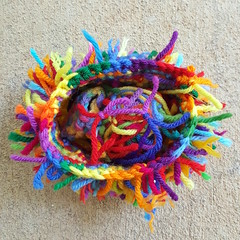An overview of the rainbow based yellow scrap cat (crochetbug13) Tags: crochet crocheted crocheting crochetcat crochetcats amigurumicat amigurumicats scrapyarn scrapyarncrochet usewhatyouhave wastenotwantnot