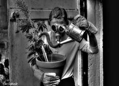 IMG_3734_tonemapped (Dan Eckholdt) Tags: visualart black white gasmask pollution woman monocrome