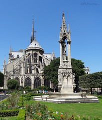 Square, fountain and Notre Dame (eutouring) Tags: paris france squarejeanxxiii square squarejean travel fountain fountainofthevirgin notredame notredamedeparis