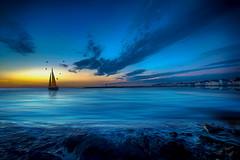 Blue Heaven. (Kyle TKT) Tags: sky sea water ocean boat lighthouse sunrise blue beach pier donaghadee yaht art heaven birds