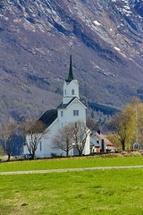 Oppstryn Church (jiffyhelper) Tags: norway church canon eos 60d outdoors field mountain trees white wooden grass
