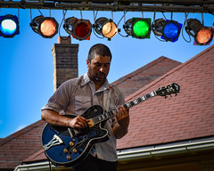 Deeptones Guitarist (tim.perdue) Tags: comfest 2017 community festival columbus ohio short north goodale park summer deeptones band group ensemble musicians funk soul rb concert live performance bozo main stage guitar guitarist lights music colorful multicolored roof chimney blue sky explored interesting popular interestingness man person figure musician performer washburn slide