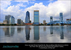 Jacksonville, 1 Corinthians 13:12a (Humbly Serving Christ) Tags: jacksonville florida fl jax downtown cbd urban city clouds blue reflection skyline skyscrapers architecture saint st johns river water sky main street bridge towers mirror waterfront riverfront northbank southbank riverwalk us usa united states america