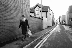 bag for life (streetstory [is offline]) Tags: blackpool uk streetphotography ricohgr blackandwhite 2017 boltonstreet oldman bagforlife beard thinsulate