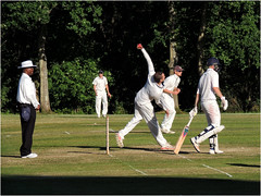 182.2 Left arm round (Dominic@Caterham) Tags: cricket wicket sunshine shadows bowler fielders umpire