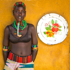 Hamer tribe woman standing at the entrance of a restaurant, Omo valley, Dimeka, Ethiopia (Eric Lafforgue) Tags: adornment adult africa beaded beads beautiful belt colorful developingcountry dimeka eastafrica embellishment enamel ethiopia ethiopia0617325 ethiopian ethiopianethnicity female hamar hamer headwear hornofafrica indigenousculture jewel jewelry lookingatcamera multicoloured necklaces omovalley onepersononly onewomanonly plate portrait restaurant southernethiopia square traditionalclothing tribal tribe tribeswoman truepeople turmi women yellowbackground et