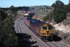Coast to coast (Bingley Hall) Tags: rail railway railroad transport train transportation trainspotting locomotive engine diesel australia newsouthwales nsw alco aegoodwin freight werai 8022 railpage:class=111 railpage:loco=8022 rpaunsw80class rpaunsw80class8022 freightcorp