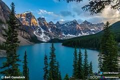 Moraine Lake at Sunset (Bart Comstock) Tags: mountainscape parkscanada canadianrockies rockymountains lake nature nationalpark mountains banff canada landscapes alberta morainelake valleyofthetenpeaks canadanationalpark valleyofthe10peaks