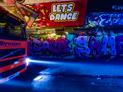 Let's Dance (Steve Taylor (Photography)) Tags: lego lorry bywaters letsdance luv davidbowie art graffiti mural streetart tag colourful uk gb england greatbritain unitedkingdom london glow tunnel volvo
