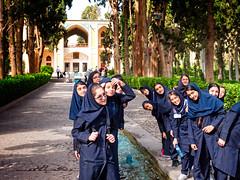 Iranian school girls at Fin Garden, Kashan, Isfahan Province, Iran (CamelKW) Tags: 2017 iran isfahan kashan iranian schoolgirls fingarden isfahanprovince