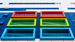 red green blue (ToDoe) Tags: blue green red balkone balconies windows fassade facade theruthrappaportchildrenshospital