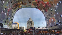 Binnenkant Markthal, Blaak, Rotterdam, Netherlands - 5144 (HereIsTom) Tags: webshots travel europe netherlands holland dutch view nederland views you sony cybershot hx9v nature sun tourists cycle vakantie fietsvakantie cycling holiday bike bicycle fietsen blaak kunst rotterdam binnenkant markthal blaaktoren potlood art centre inside city hall artwork windows tower town centrum stad market balustrade gevel toren sistine chapel hoogstraat binnenrote sixtijnse kapel vruchten fruit architecture o