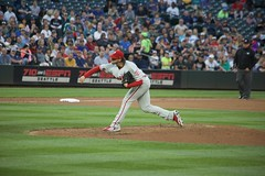 Aaron Nola follow-through (hj_west) Tags: baseball philadelphiaphillies seattlemariners safecofield mlb interleague stadium night sports