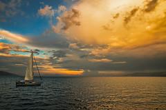 Afternoon light (dipphotos) Tags: sunlight afternoon sea boat sunrise greece clouds sky euboea evoia evia