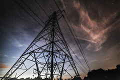 pylon at night (I was blind now I see!) Tags: pylon cloud sky light dark stars astrophotography cables landscape underneath night starry silhouette electric electricity hertfordshire impressive pov