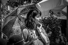 sunny day (alexhaeusler) Tags: blackwhite street people smile sunnyday sun parasol umbrella