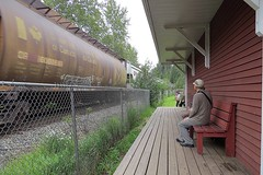 Craigellachie, British Columbia (5of7) Tags: rail railroad train craigellachie britishcolumbia canada outdoor tourist lastspike cpr canadianpacificrailway railway 1885 great composition old oldtimes fench bench wood people sitting candid fav 10fav andromeda50bestofthebest supersix 16fav