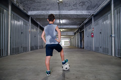 Street football (cromam) Tags: ball blackandwhite competitive fatigue football game garage goal indoor kick labour lonely neon players short shot soccer sport streetfootball sweat training youngman