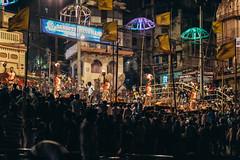 Ganga Aarti (Andrew G Robertson) Tags: ganga aarti ceremony festival hindu ganges varanasi benares india night ritual religion canon5dmkiv mk4 mkiv 5d canon 85mm f12