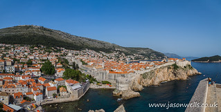 Tourists look out towards the old town of Dubrovnik