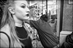 Help! (Stephen Percival) Tags: fujifilmxpro2 shopkeeper trafalgarsquare london blackandwhite urban street candid