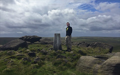 23 of 52 trig points (Ron Layters) Tags: 2017 ronlayters selfportrait 52trigpoints westnab trigpoint windy summit melthammoor boulders rocky rockingstone grass moorland gritstone moor clouds pillar tp6819 fbs1756 peakdistrict peakdistrictnationalpark meltham marsden yorkshire england unitedkingdom 52weeks 52 phonecamera iphone apple appleiphone6 selftimer tripod 10secondtimer weektwentythree week23 23 highestpositioninexplore66onmondayjune122017 explore interesting explored