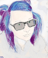 Girl wearing glasses (faceseveryday) Tags: fed113 art illustration drawing redditgetsdrawn portrait photoshop caucasian sketch scribble female girl woman purplehair glasses septum piercing medusa