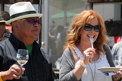 Guests (sarahstierch) Tags: rohnertpark sonomacounty california winecountry northcoastfoodwinefestival foodfestival winefestival people man woman fork eating redhead