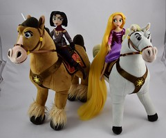 Rapunzel and Cassandra Dolls with Plush Maximus and Fidella - Cassandra Riding Fidella and Rapunzel Riding Maximus - Full View (drj1828) Tags: us disneystore tangled tangledtheseries doll 2017 purchase posable adventure 10inch 2d deboxed maximus horse plush 15inch riding cassandra fidella