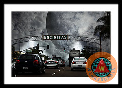 Welcome To Encinitas California Framed Print (wingsdomain.com) Tags: wingsdomain encinitas encinatas ca california sandiego sd carlsbad mexico border beach beachtown beachtowns town towns surreal surrealism fantasy fantasm scifi science fiction sciencefiction dream dreams dreamy scary raven ravens crow crows moon moons night nighttime ominous dark goth welcome sign signs welcomesign transportation transportations car cars auto autos automobile automobiles vehicle vehicles traffic city for old wingtong buy purchase sell prints poster posters framedprint canvasprint metalprint fineart wallart walldecor homedecor print art photograph photography