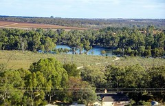 Overland Corner and the Murray River. In the bottom of the photo is the Overland Corner Hotel built in 1859. (denisbin) Tags: overlandcorner rivermurray overlandcornerhotel grave cemetery house postoffice museum courtyard bland fire fireplace