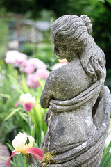 Lady of the Gardens / Djevojka u bašti (Gordana AM) Tags: wwwgordanaphotocom gordanamladenovic gordana photography photographer photo portcoquitlam bc britishcolumbia vancouver lowermainland canada lepiafgeo statue sculpture concrete garden ornament vertical irises weathered aged gardening pnw maple ridge vignette
