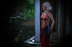 War of the Butterflies: the wait before a date (jewel pexie) Tags: people formal gown dress secondlife blonde woman girl outdoor outdoors blond beautiful beauty
