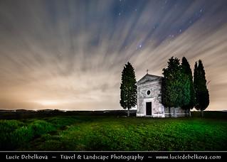Italy - Tuscany - Toscana - Iconic Chapel of Val d'Orcia at Night