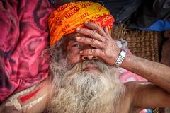 Kathmandu, Nepal (gstads) Tags: kathmandu nepal sadhu indian india portrait beard hindu devotee religion hand orange asia asian southasia southasian pilgrim mahashivaratri hinduism festival hindufestival shiva nightofshiva pashupatinath shivaratri stoned high nepali nepalese religious saddhu man old mature male gentleman closeup ascetic asceticism spiritual spirituality sannyasi saffron holy holiness karma vaishnava vairgaya mantra
