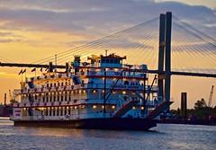 Seeing Savannah, Georgia (tvdflickr) Tags: usa georgia savannah south ferry boat ship bridge city cruise talmadgebridge river riverboat tourism southern dusk evening sunset