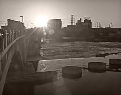 Good morning sunshine (TwinCitiesSeen) Tags: minneapolis minnesota mississippiriver twincities twincitiesseen canon6d tamron2875mm blackandwhite sunrise