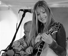 Ashley Lewis, SJF. 13 (EOS) (Mega-Magpie) Tags: canon eos 60d outdoors ashley lewis family field day st james farm bluegrass music people person man woman warrenville il illinois usa america bw black white mono monochrome smile mandolin