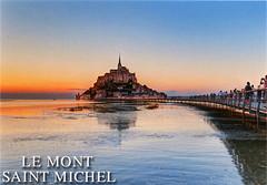 postcard - Mont St. Michel 5 (Jassy-50) Tags: postcard montsaintmichel montstmichel france abbey monastery island unescoworldheritagesite unescoworldheritage unesco worldheritagesite worldheritage whs couesnonriver bay water sunset