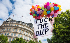 FUCK THE D.U.P - Explored (DobingDesign) Tags: pridelondon gaypride2017 trafalgarsquare london balloons colours signs floating political text democraticulsterparty streetphotography