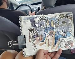 Sur l'A31 du côté de Beaune #sketch #autoroute #urbansketchers (dege.guerin) Tags: instagramapp square squareformat iphoneography uploaded:by=instagram