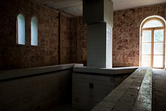 Shining Inn (modestmoze) Tags: hotel motel small pool inside indoors architecture shining light 2017 500px summer june lines tiles walls shadows column day beautiful view interesting abandoned old brown white windows door black sauna