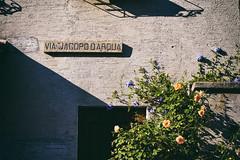 Arquà (Marta Marcato) Tags: house yellow blue summer happy sun minimal casa giallo facciata blu azzurro estate felicità sole minimalism minimalismo italy italia nikon d7200 ombra shadow street via strada arquàpetrarca edificio building name