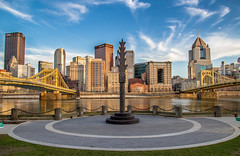 Pittsburgh from Allegheny Landing (Lee of Western PA) Tags: pittsburgh pennsylvania skyline urban cityscape foreground statue canon sigma